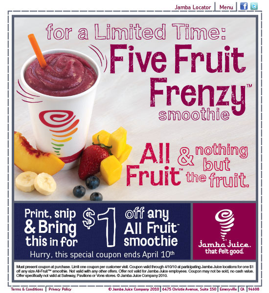 Go Here to print out a $1.00 off any All Fruit Smoothie at Jamba Juice.