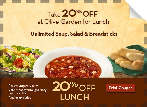 picture relating to Olive Garden Printable Menu named Olive yard lunch coupon codes oct 2018 printable - Costco