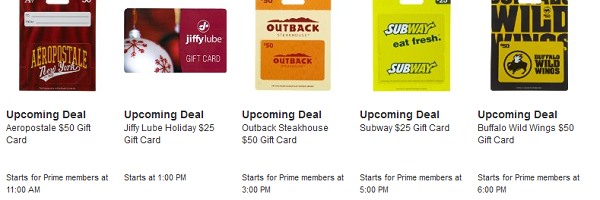 *HOT* Amazon Lightning Deals on Gift Cards (Subway, Outback, Aeropostale and more)