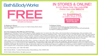 bath and body works free fragrance mist coupon